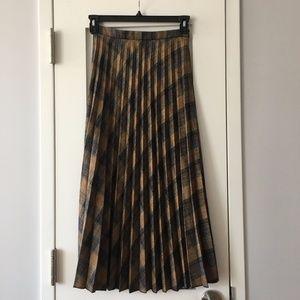 Mango Pleated Plaid Midi Skirt – Sz XS (NWT)